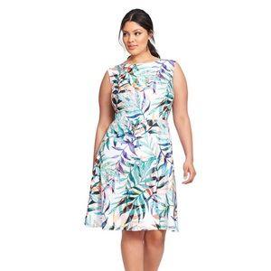Adriana Papell Colorful Palm Leaf Sleeveless Dress
